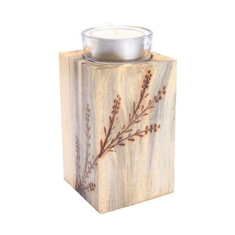 "Wood T-light Holder 4"" - Eyaas"