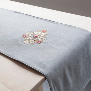 Grey Chanderi Table Runner - Eyaas