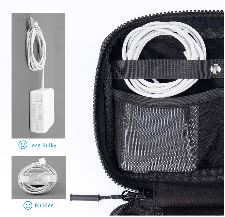 Electronics Organizer Bag & Power Charging Cord Travel Case (Black) - Comfyable