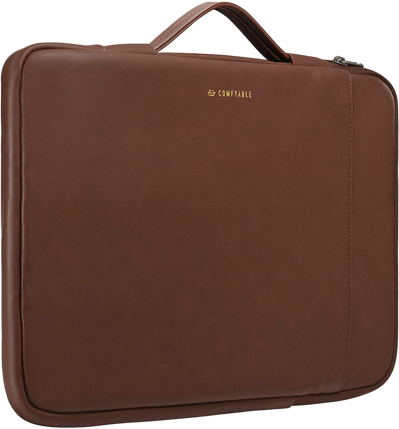 Comfyable Laptop Sleeve Compatible with 13-13.3 Inch MacBook Pro & MacBook Air & Dell HP Lenovo 13in Computer with Handle & Pocket, Faux Leather Protective Waterproof Case Briefcase Bag for Mac-Brown