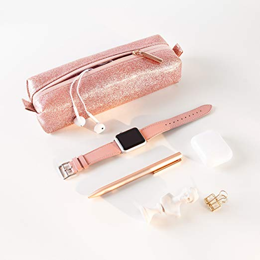Small Makeup Brush Bag for Purse-Rose Gold Sparkly Pink - Comfyable