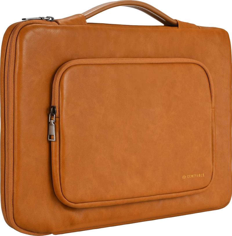 Laptop Sleeve for 16 Inch MacBook Pro & 15-15.6 Inch Laptop with Pocket Handle Bag, Brown