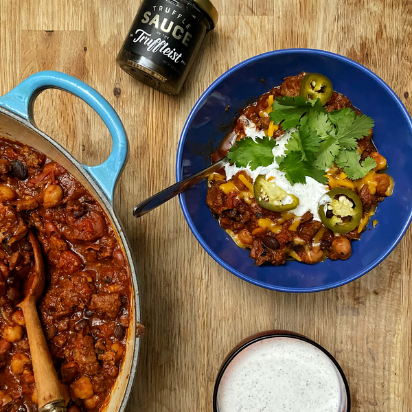 Truffle Bratwurst And Beef Chili With Truffled Sour Cream