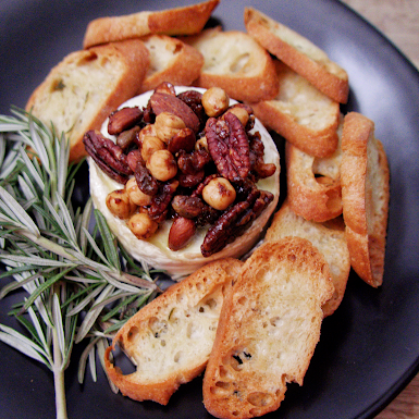 Truffle Baked Brie with Truffle Spiced Nuts
