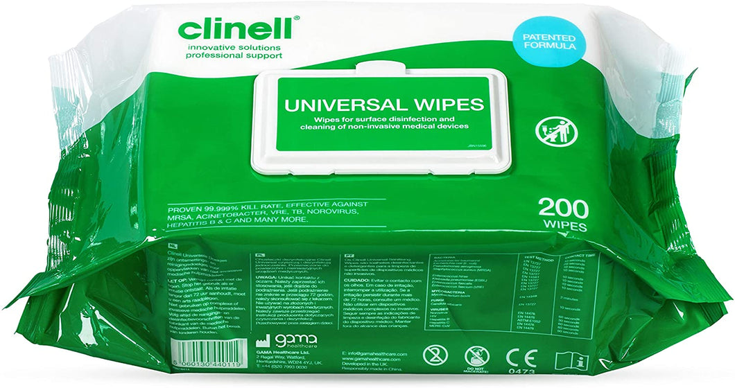 Clinell Universal Sanitising Wipes Pack 200