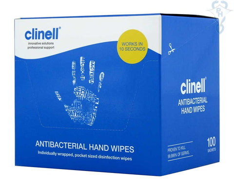 Clinell Antibacterial Hand Wipes (Pack of 100)