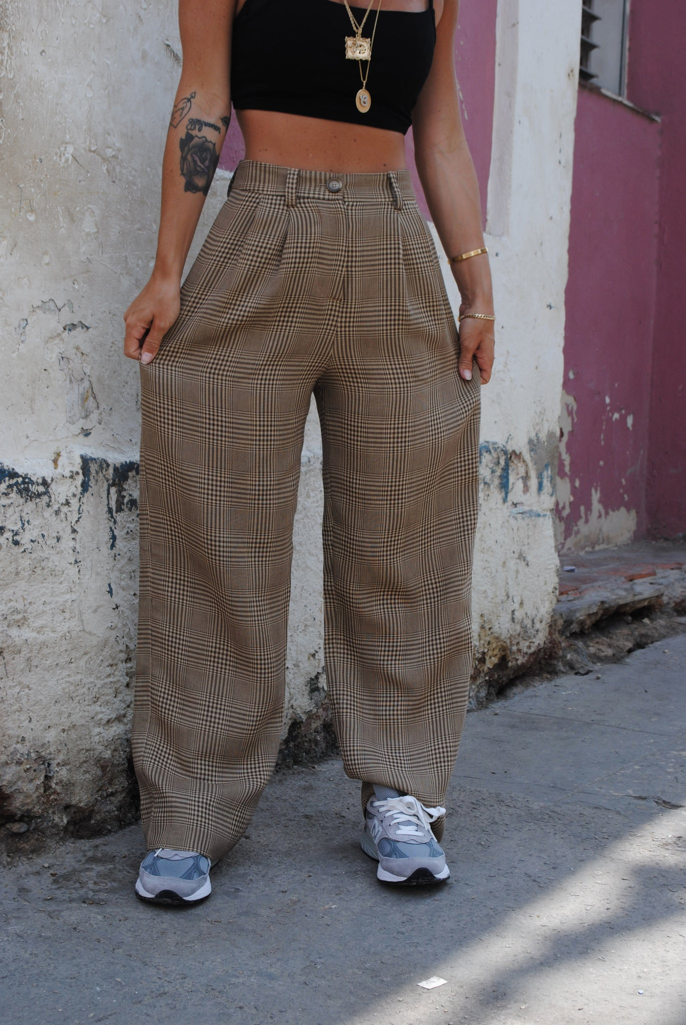 Bambino Trousers Tan Glen Plaid