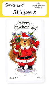 Merry Christmas Bear Stickers (4-pack)