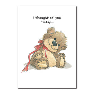 This soft old bear sits on Suzy Ducken's bed and smiles at her whenever she comes in the room.This old bear sits on Suzy Ducken's bed and smiles at her whenever she comes in the room in this Suzy's Zoo friendship card.