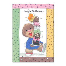 Ollie Marmot can never pick just one flavor of ice cream, so he usually gets several in this birthday card from Suzy's Zoo.