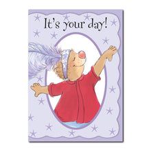 Emily Marmot has a great imagination. She loves to dress up and dance in this Suzy's Zoo happy birthday greeting card.