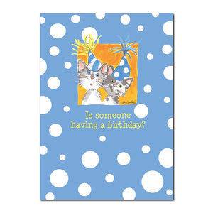 Just like little kitties, these two are just as inquisitive in this Suzy's Zoo happy birthday greeting card.