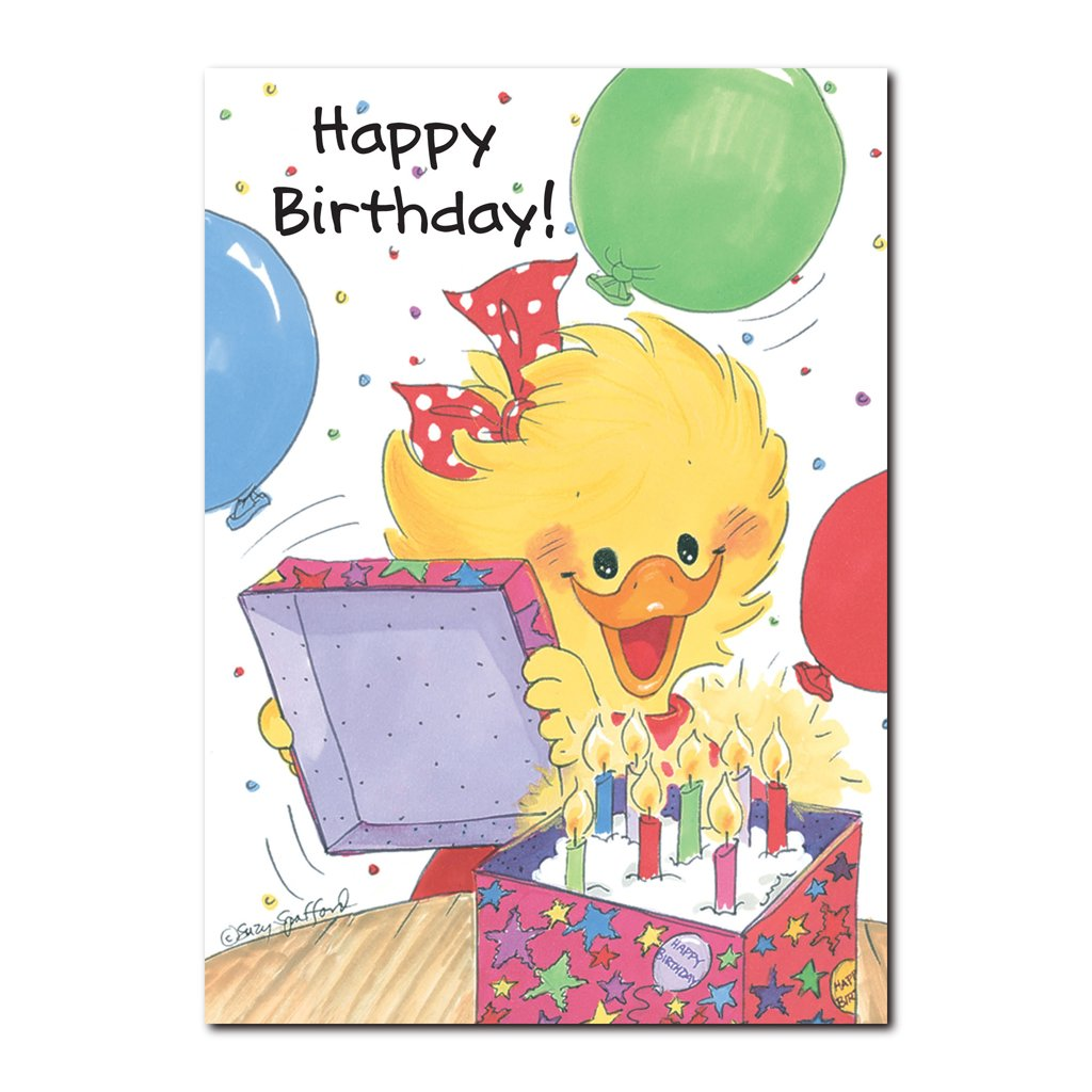 Suzy Ducken always enjoys fun surprises, especially on her birthday in this Suzy's Zoo happy birthday greeting card.