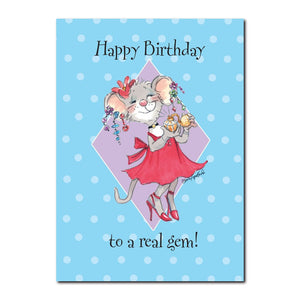 Tilly is a real gem and loves to get dressed up, especially on her birthday in this Suzy's Zoo happy birthday greeting card.