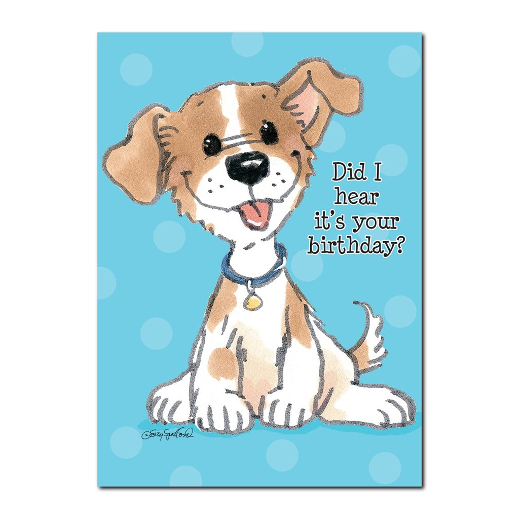 This little puppy is a good friend to have, especially on a birthday in this Suzy's Zoo happy birthday greeting card.
