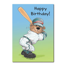 Homer Bear is the best slugger on the whole Diggers line-up. Look at 'im go in this Suzy's Zoo happy birthday greeting card.