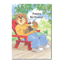 """Life is good! Enjoy!"" Says Hugo Bear, who enjoys being himself in this Suzy's Zoo happy birthday greeting card."