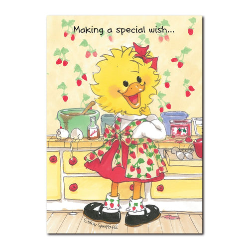 Suzy Ducken makes a special wish come true by baking a cake in her kitchen in this Suzy's Zoo happy birthday greeting card.