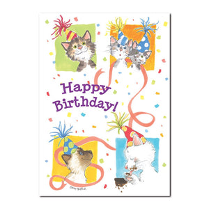 This Happy Birthday greeting card from Suzy's Zoo features The Duckport Kitties, who love to celebrate birthdays!