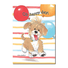This Suzy's Zoo Wags and Whiskers Birthday card features the happy little brown puppy named Baxter.