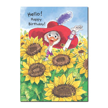 Cornelia O'Plume's favorite flower is the sunflower in this Suzy's Zoo Happy Birthday greeting card.