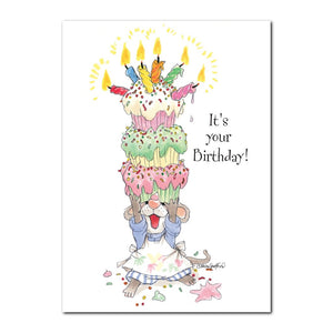 This Happy Birthday greeting card from Suzy's Zoo shows Herkimer's tower of cupcakes, all the latest rage in Duckport!