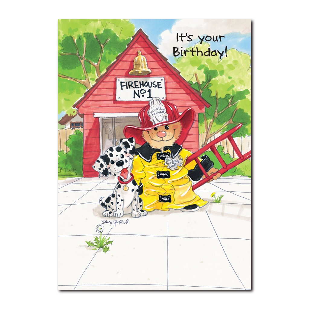 Ollie Marmot admires the Duckport Firemen in this Happy Birthday greeting card from Suzy's Zoo.