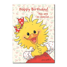 There is nobody in Duckport more special than Suzy Ducken, seen in this Happy Birthday greeting card from Suzy's Zoo.