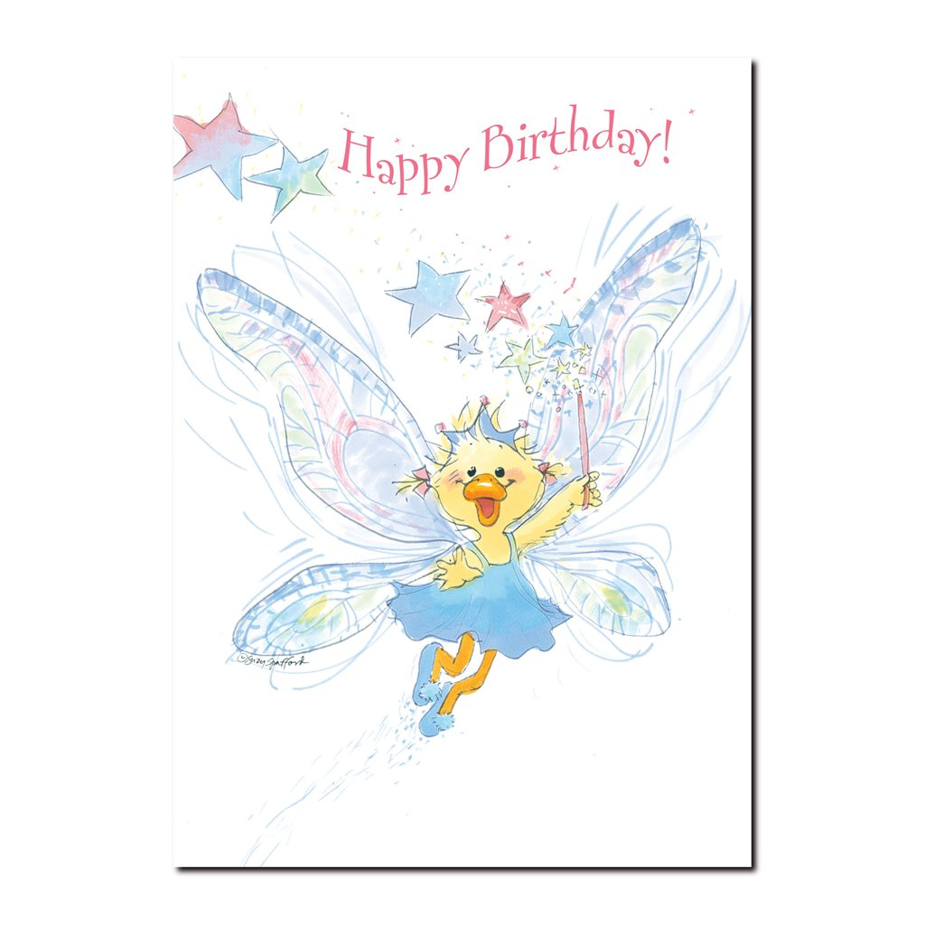 Polly Quacker is a lucky little duck with a fanciful imagination and sparkling dreams in this Suzy's Zoo Birthday card.
