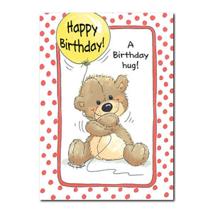 Brown stuffed teddy bear Huggy Bear and his yellow balloon feature on this Suzy's Zoo Birthday greeting card.