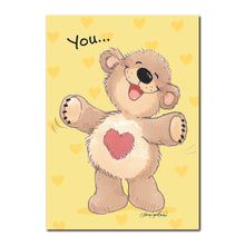 Boof wears his heart on his tummy because he is so full of love on this Friendship greeting card from Little Suzy's Zoo.
