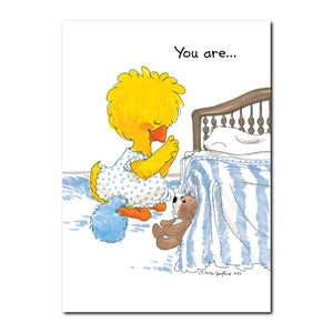Suzy Ducken says her prayers every night before bedtime on this Suzy's Zoo friendship greeting card.