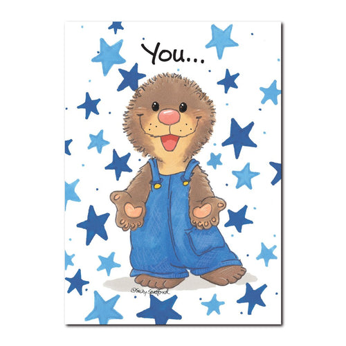Ollie Marmot is one of the most popular little guys in Duckport, featured on this Suzy's Zoo friendship greeting card.