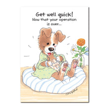 This little puppy is all wags and happy to be on the mend in this Suzy's Zoo get well greeting card.