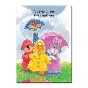Witzy and friends Boof, Patches and Lulla are ready for rainy weather in this get well greeting card from Little Suzy's Zoo.
