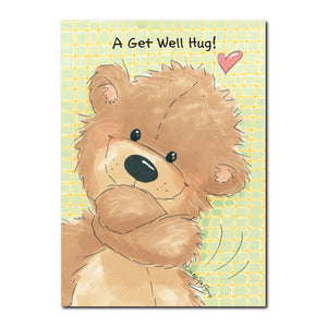 Willie Bear can give a get-well hug like no other bear in Duckport, in this Suzy's Zoo get well greeting card.