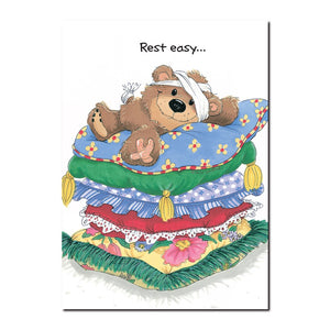 Willie the well-loved teddy bear is mending quickly under the good care of Suzy Ducken in this Suzy's Zoo get well card.