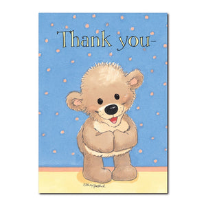 "Boof says ""thank you"" with a deep bow and then with his paws stretched wide in this Suzy's Zoo Thank You greeting card."