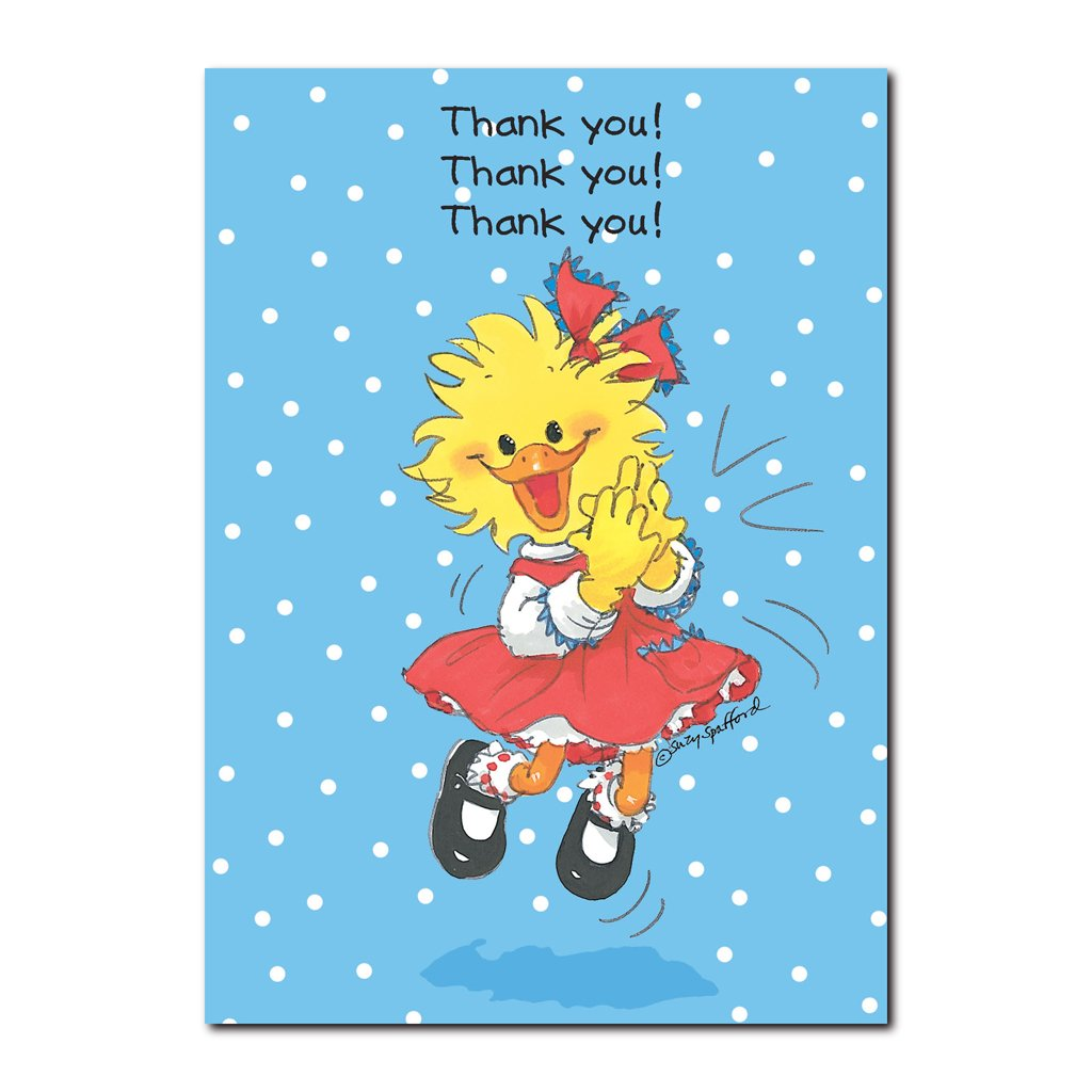 This Thank You greeting card from Suzy's Zoo features Suzy Ducken who is very expressive when she says thank you!