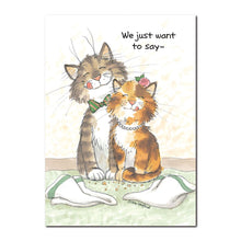 Here are Maurice and Camille, a very social pair of cats featured on this Suzy's Zoo thank you greeting card.