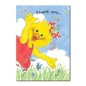 Suzy Ducken feels great whenever she visits Butterfly Meadow just down the street on this Suzy's Zoo thank you greeting card.