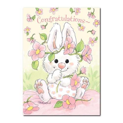 What can be sweeter than a new little baby bunny? A little GIRL baby bunny! Seen on this Suzy's Zoo baby congrats card.