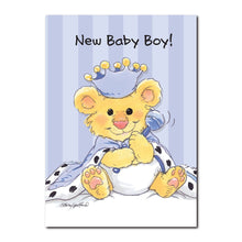 Here's little Brink, the pride of the lion family, on this baby congrats greeting card from Suzy's Zoo.