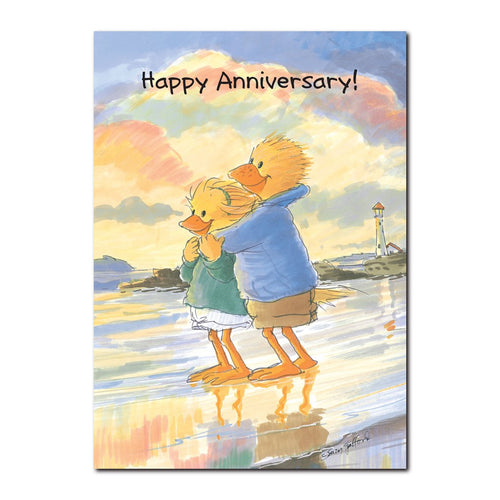 Lizzie and Lester Ducken are a couple who take a moment to bask and reflect on this anniversary greeting card from Suzy's Zoo.