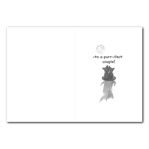 Kitty Couple on Fence Anniversary Greeting Card