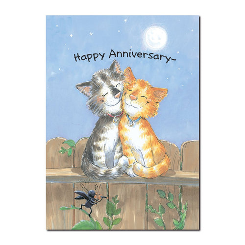 Hearts and tails entwined, a full moon overhead, and an evening's love song for two cats in this Suzy's Zoo anniversary card.