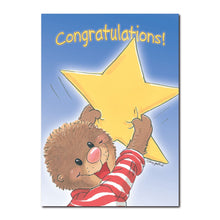 Ollie Marmot is one of the best cheerleaders in Duckport in this congratulations greeting card from Suzy's Zoo.