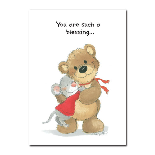 Herkimer Mouse has found a true friend in Willie Bear in this friendship greeting card from Suzy's Zoo.