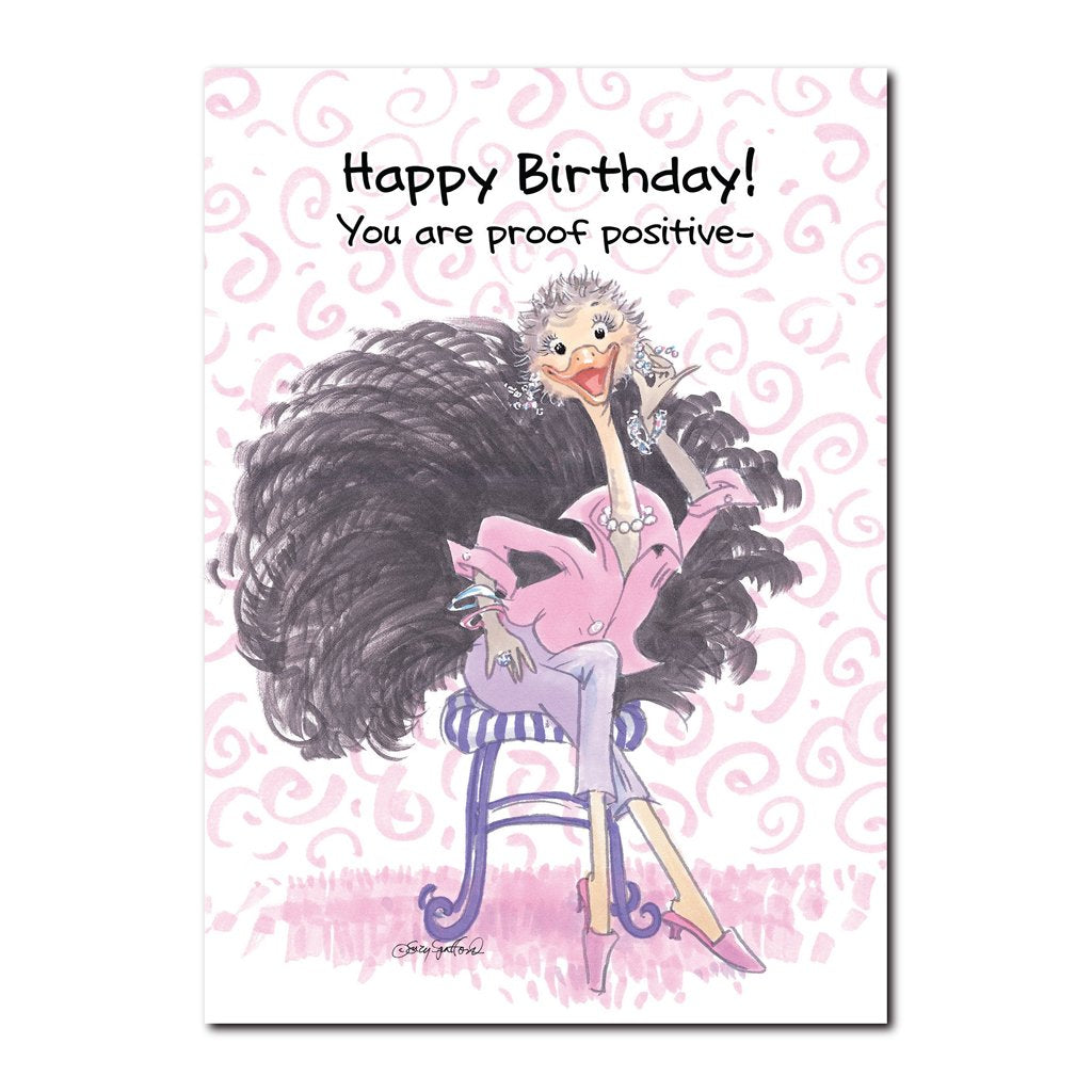 Cornelia O'Plume is an ostrich with her finer attributes in this Happy Birthday greeting card from Suzy's Zoo.
