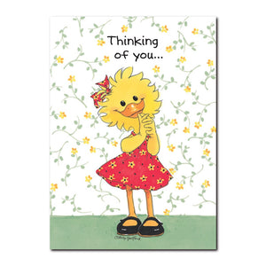 Suzy Ducken is very good at expressing her feelings in this Suzy's Zoo get well greeting card.